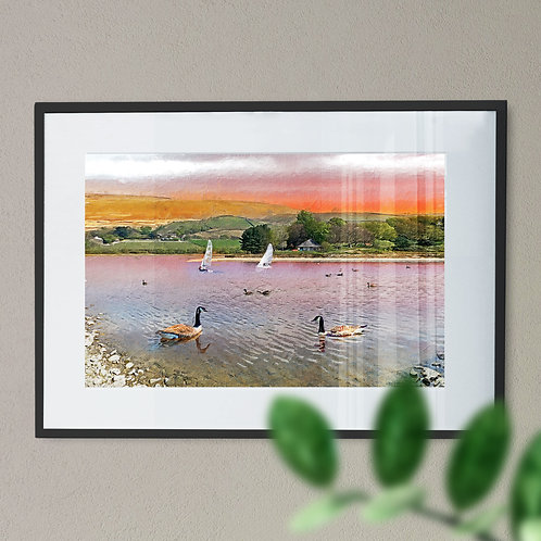 Ducks at Hollingworth Wall Art Print - Lake Rochdale Oil Painting Effect