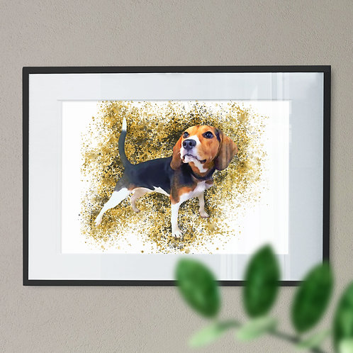 Digital Wall Art Print of Beagle Dog on a Gold Splashes