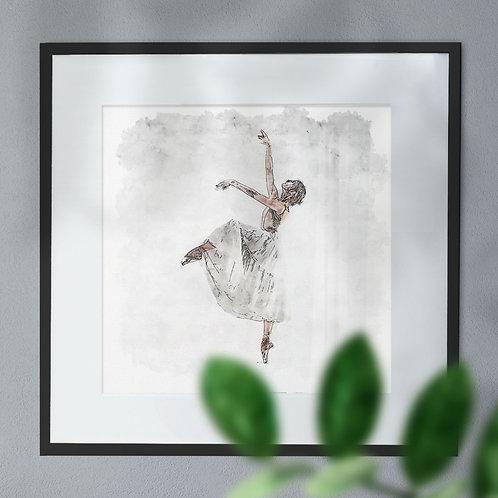 Pen and Watercolour of a Ballet Dancer Reaching
