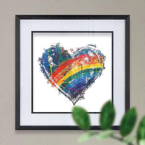 Rainbow Heart on Blue Wall Art Print