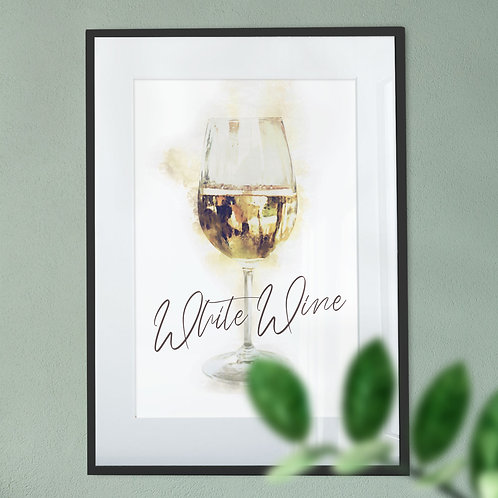 Digital Wall Art Print - White Wine Glass