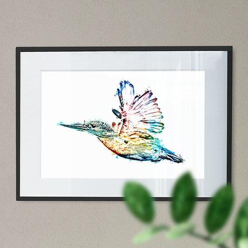 Flying Kingfisher Grunge Effect Wall Art Print