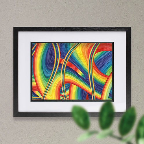 Abstract Rainbow Arches Wall Art Print