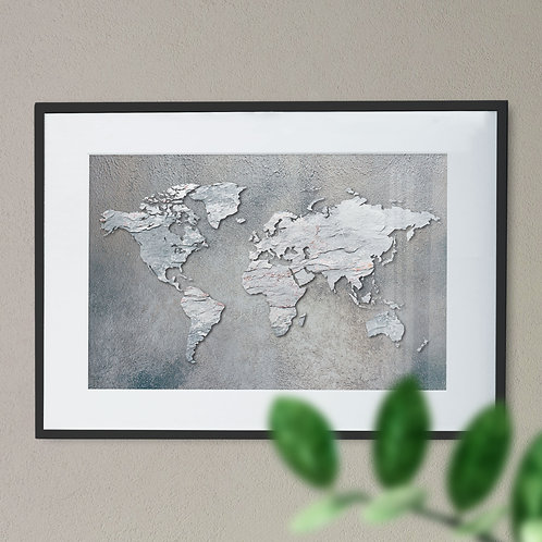Map of the World in a Concrete Effect Wall Art Print