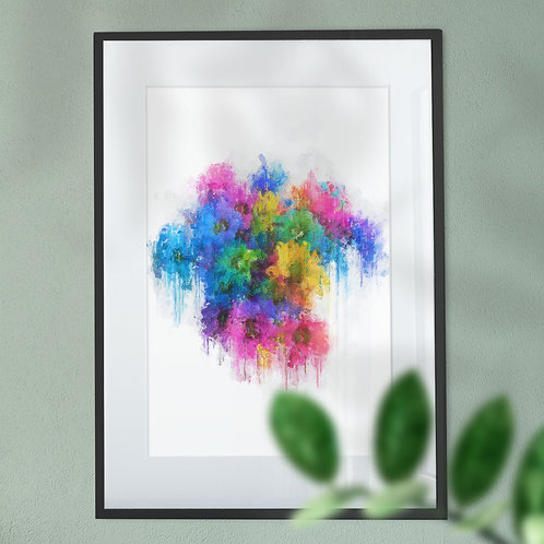Wall Art Print of Multicolour Flowers with a Modern Grunge Effect