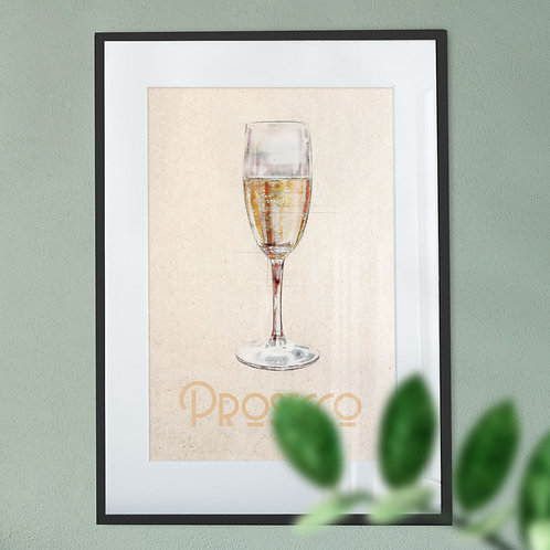 Prosecco On Soft Coloured Background Wall Art Print