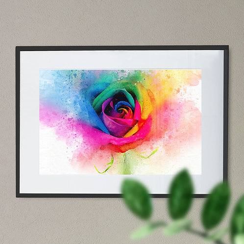 Watercolour Explosion Wall Art Print of a Rainbow Rose