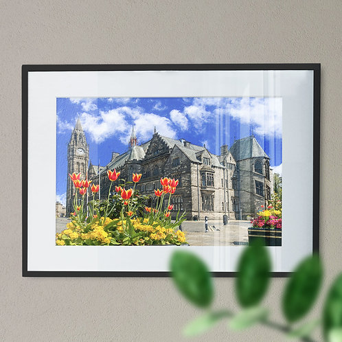 Rochdale Town Hall and Tulips in the Foregound - Wall Art Print