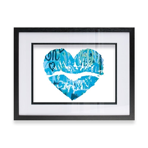City Blue Heart Lip Effect Wall Art Print, Ideal  Gift for him or her