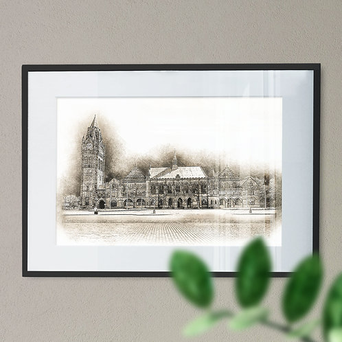 Rochdale Town Hall Wall Art Print - Pencil Drawing Sepia Effect
