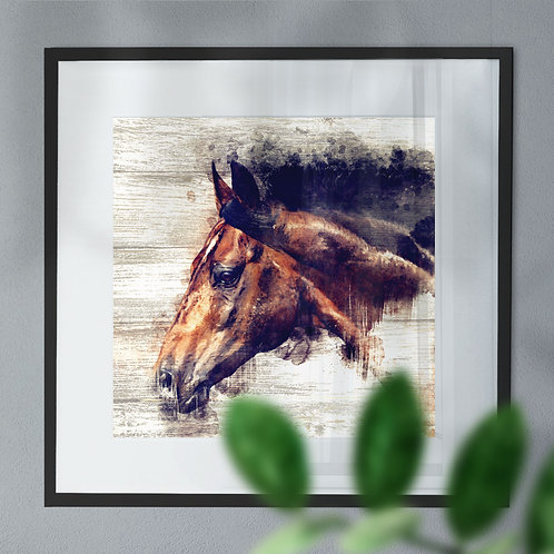 Watercolour Image of Bay Horse on Wood Effect Wall Art Print