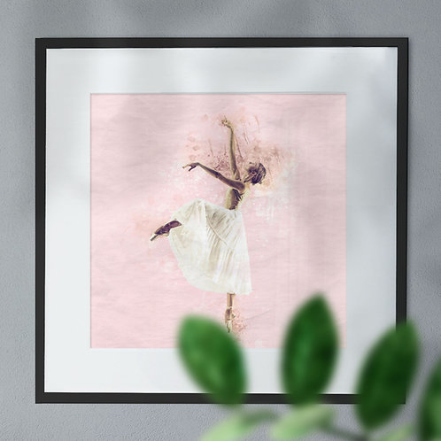 Ballerina In Watercolour on Full Pink Background Wall Art PrintWall Art Print