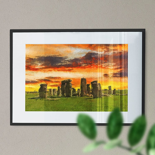 A Wall Art Print of Stone Henge at Night with Orange and Yellow Sky
