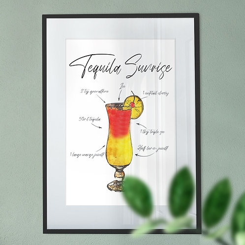 Wall Art Print - Watercolour of a Tequila Sunrise Cocktail Menu