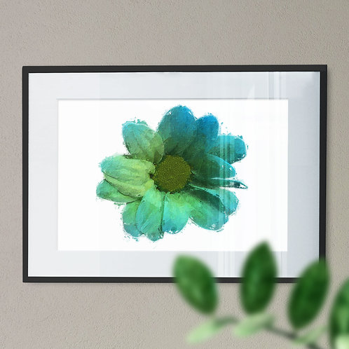 Green Flower Wall Art Print with a Oil Painting Effect