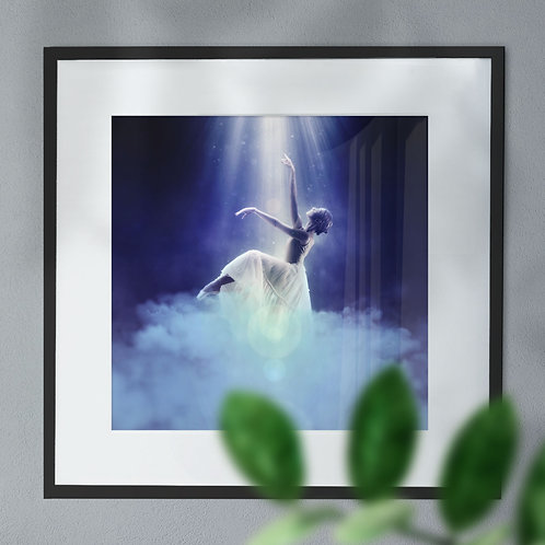Ballet Dancer in the Spotlight Reaching in the Clouds Wall Art Print