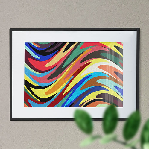 Multi Coloured Large Wave Digital Wall Art Print (Abstract)