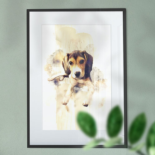 Watercolour Image of a Beagle Puppy with Oil Painting Background Wall Art Print
