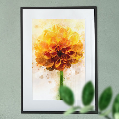 Digital Wall Art Print of A Yellow Dahlia