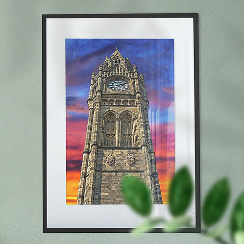 Wall Art Print Rochdale Town Hall Clock Tower on a Colourful Sky