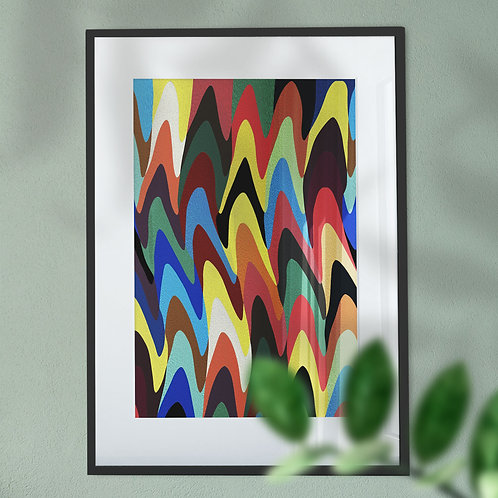 Multi Coloured Wave Small Digital Wall Art Print (Abstract)