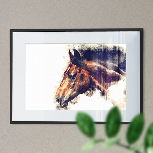 Watercolour Image of Bay Horse Printed on White Background Wall Art Print