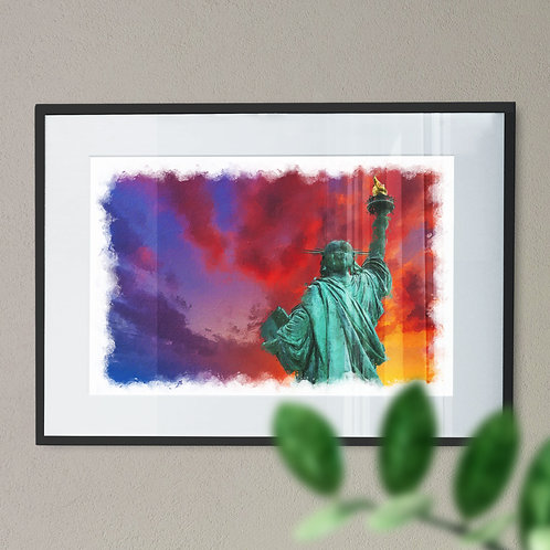 Wall Art Print of the Statue of Liberty with Multicoloured Sky - Rear View