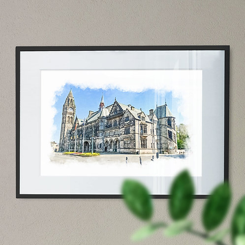 Rochdale Town Hall Wall Art Print - Oil Painting
