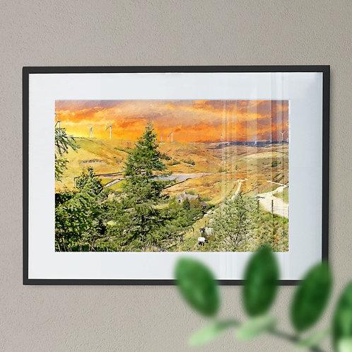 Naden Reservoir Wall Art Print Rochdale Orange Sky Oil Painting Effect