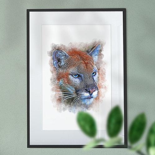 Mountain Lion Wall Art Print in Digital Effect