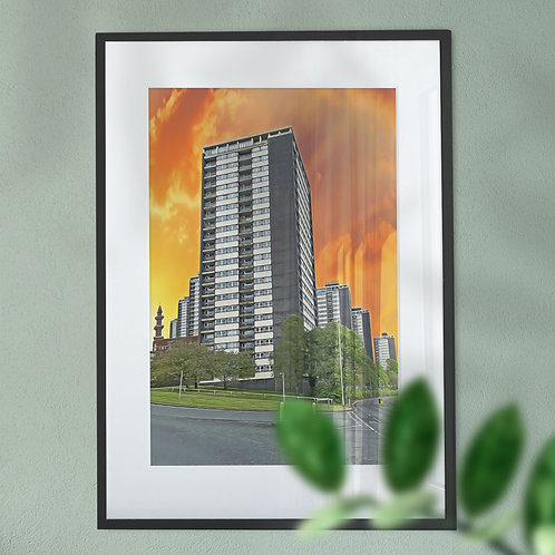 The Iconic Seven Sisters Flats with an Orange Sky Wall Art Print -Digital Effect