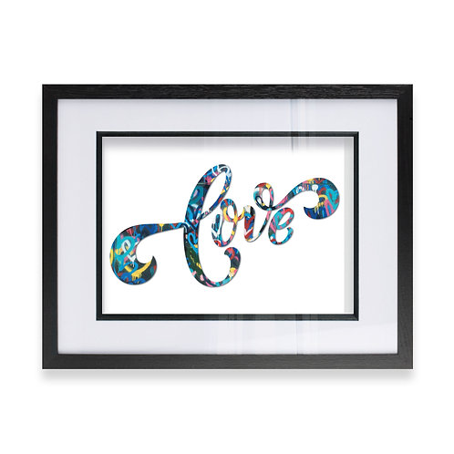 Word Love in a Grunge Effect Wall Art Print, Ideal Gift