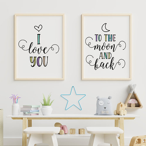 A Set of 2 Digital Prints  - I Love You to the Moon and Back Wall Art Print
