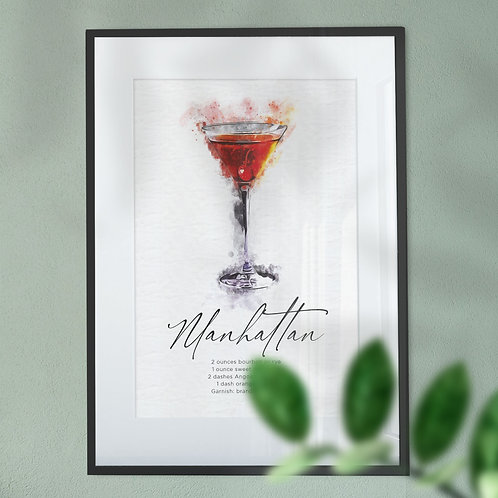 Wall Art Watercolour Abstract of a Manhattan Cocktail & Recipe