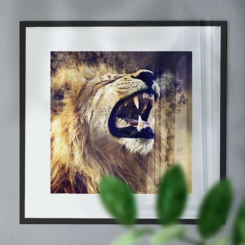 Watercolour Image of a Roaring Lion On a Dark Background Wall Art Print