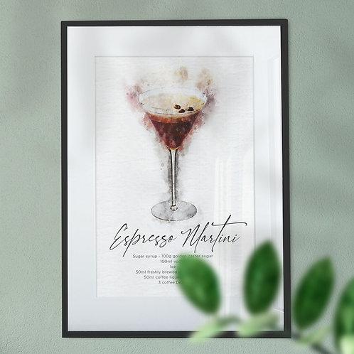 Wall Art Print Watercolour Abstract of a Espresso Martini Cocktail & Recipe