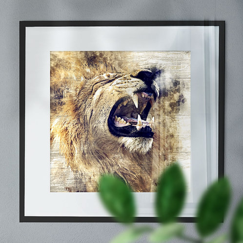 Watercolour Image of a Roaring Lion On Wood Effect Background