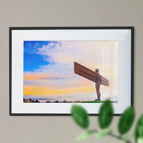 A Digital Wall Art Print of The Angel of The North Smooth Brush Blue Sky