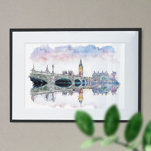 Pen and Watercolour Wall Art Print of Westminster Bridge, Houses of Parliament