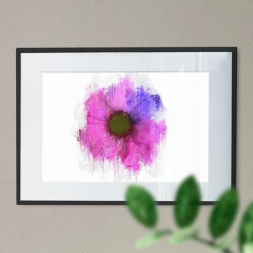Pink Gerbera Flower Wall Art Print Grunge Effect