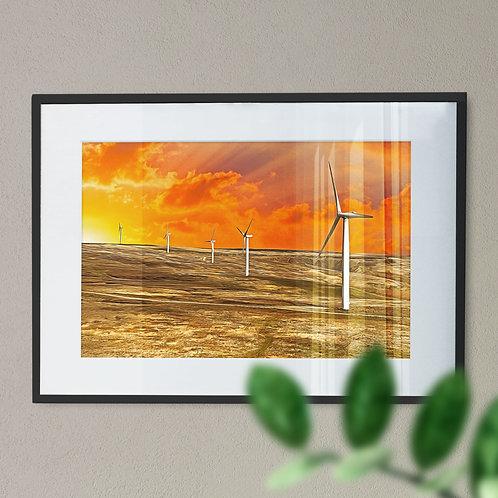 Scout Moor Wind Turbines Wall Art Print - Near Noel Hill Rochdale Digital Effect
