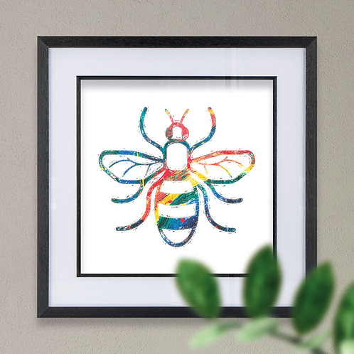 Bee Paint Effect Wall Art Print