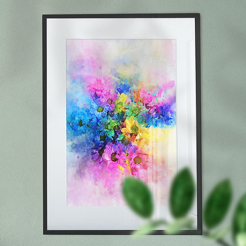 Stunning Wall Art Print Multicolour Flowers with an Explosion Effect Digital