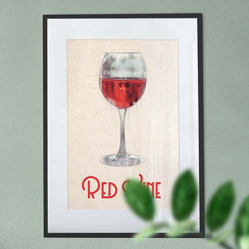 Red Wine  Glass on a Soft Background Digital Wall Art Print