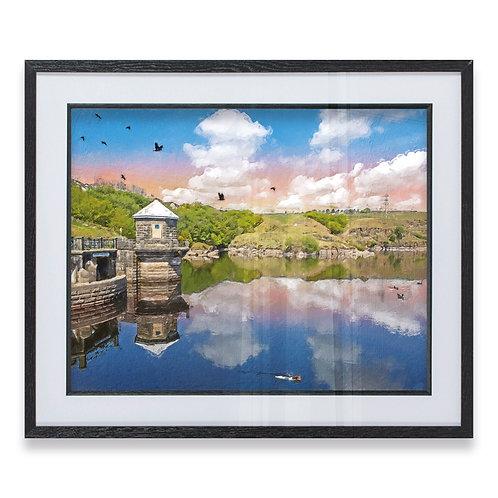 Greenbooth Reservoir Rochdale Pink Sky Rough Brushstroke Effect - Framed Print