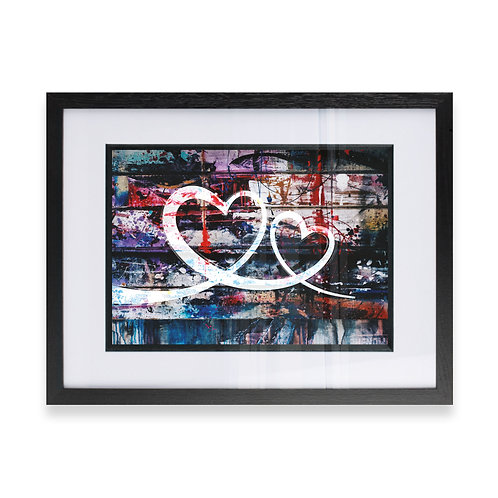 2 Love Hearts Linked on a grunge graffiti Effect Wall Art , Ideal  Gift for him
