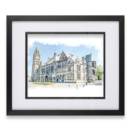 Rochdale Town Hall Oil Painting Framed Print