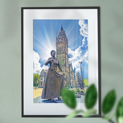 'Our Gracie' and Rochdale Town Hall Wall Art Print -  Blue Sky Digital