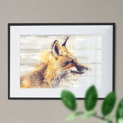 Wall Art Print Watercolour Image of a Fox on Wood Effect Background