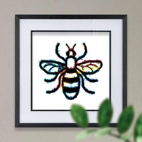 Bee Black Grunge Effect Wall Art Print